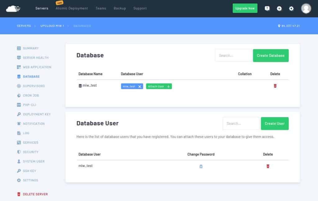 Databases for RunCloud WordPress