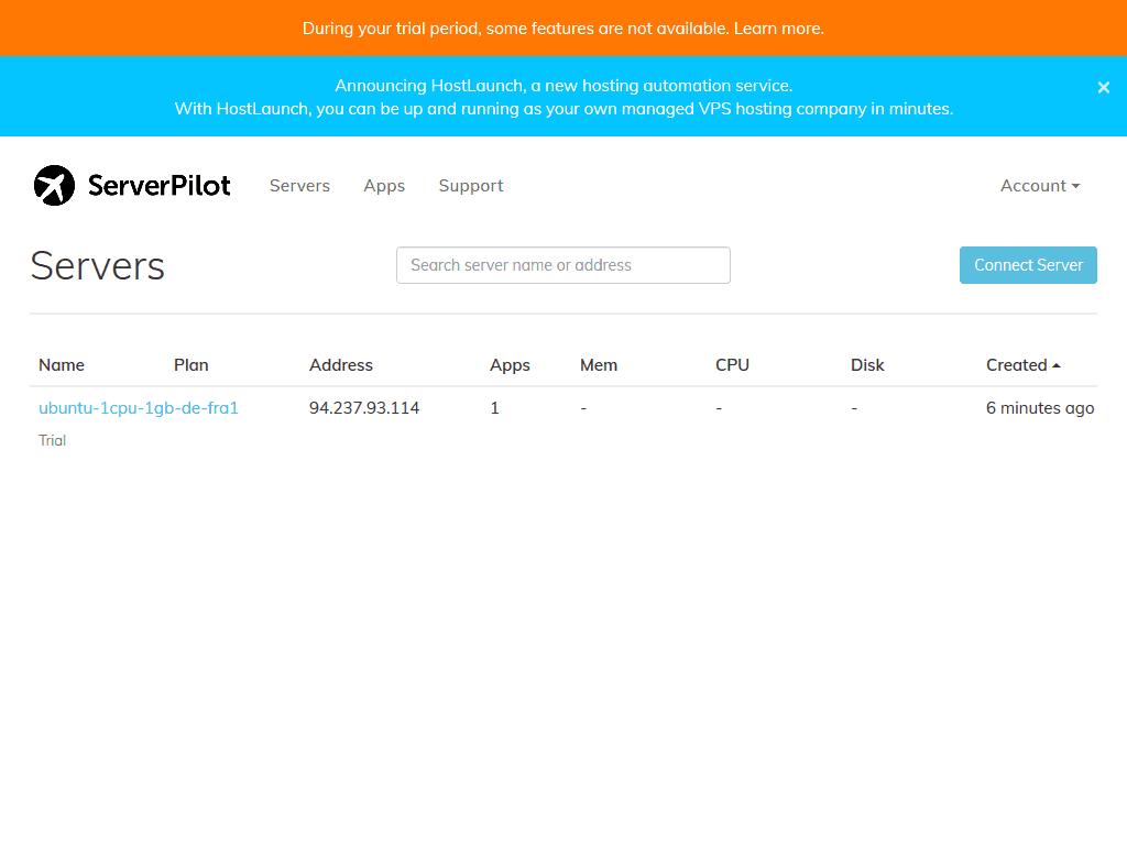 ServerPilot Server List