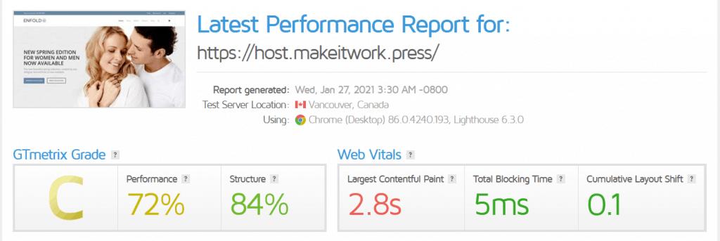 AccuWebHosting review: GTMetrix performance report
