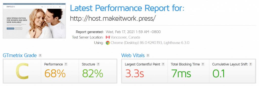 GT Metrix A2 Hosting Review Performance