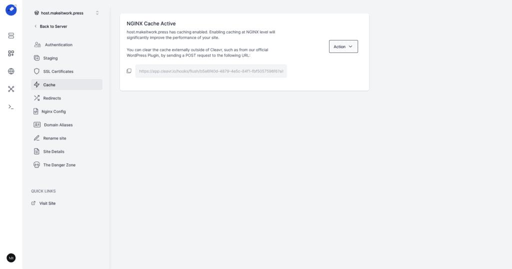 Cleavr NGINX cache WordPress site settings